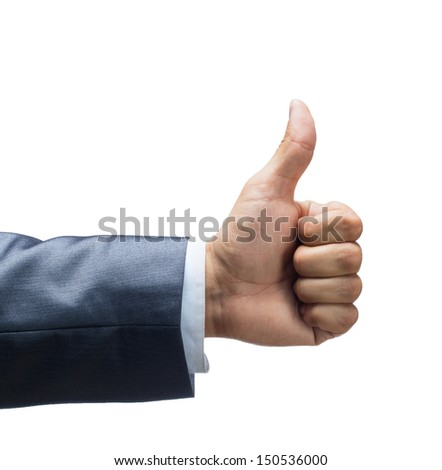 Closeup of thumbs up symbol isolated on white