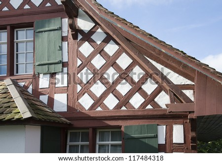 closeup of timber framed house in switzerland