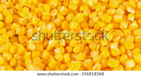 Closeup of tinned whole kernel corn, it could be used as background  - stock photo