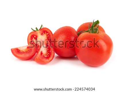 Closeup of tomatoes isolated on the white background - stock photo