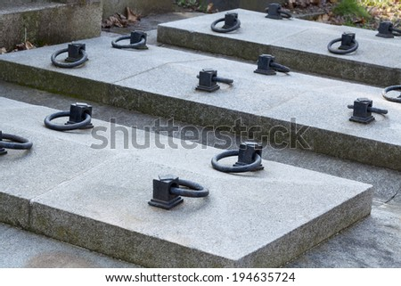 Closeup of tombstones - stock photo