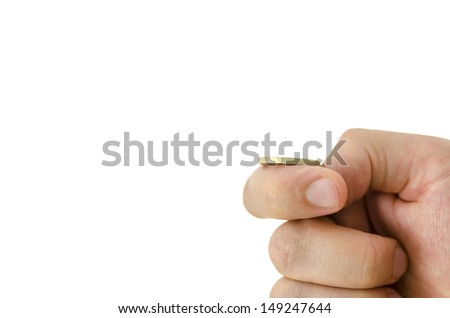 Closeup of tossing Euro coin. Empty space ready for your text or logo. - stock photo