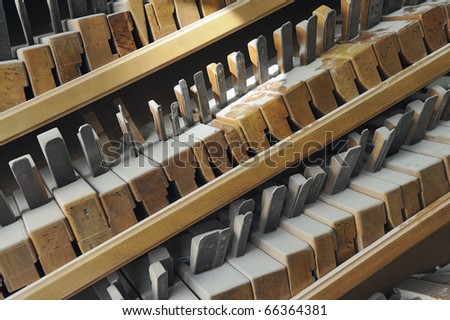 Closeup of traditional carpentry planing tools on a shelf