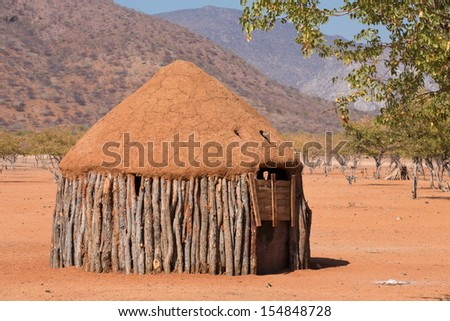 Closeup of traditional hut of himba people in Namibia - stock photo