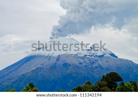 Closeup of Tungurahua Volcano throwing ashes into the sky - stock photo