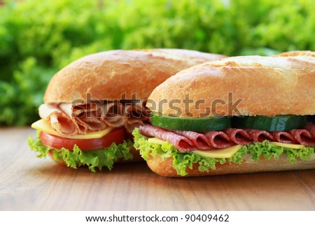 Closeup of two fresh sandwiches with salami and ham - stock photo