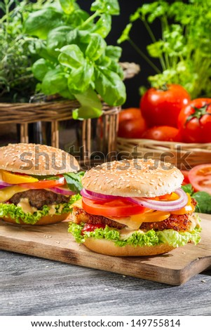 Closeup of two homemade burgers made from fresh vegetables
