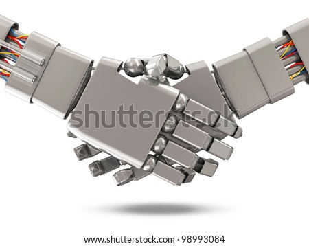 Closeup of two Robots Shaking hands isolated on white background - stock photo