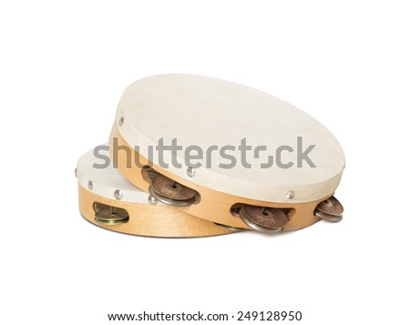 Closeup of two Turkish tambourines isolated on white background. - stock photo