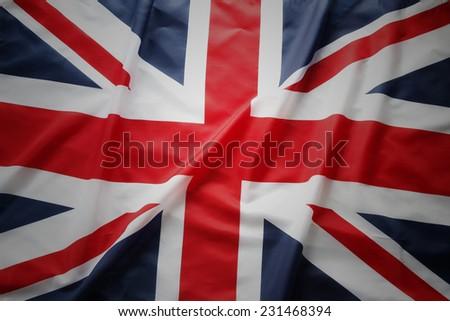 Closeup of Union Jack flag - stock photo