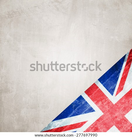 Closeup of United Kingdom flag on grunge background - stock photo