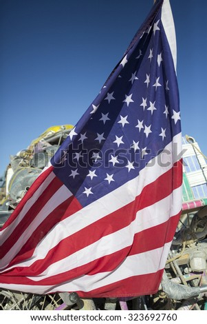 Closeup of USA flag against a blue sky. Nevada. USA