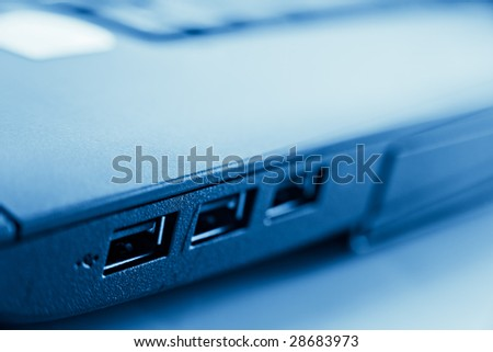 closeup of usb port in laptop computer