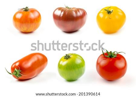 Closeup of varieties of colorful tomatos - stock photo