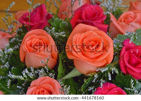 closeup of vibrant orange roses with water droplets bouquet - stock photo