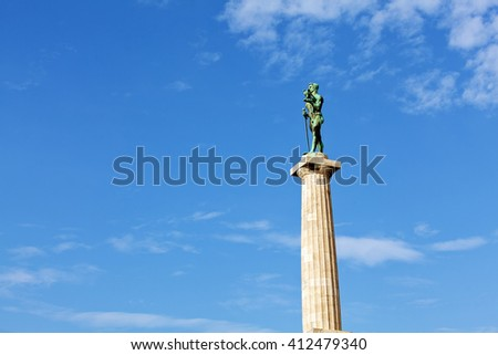 Closeup of Victor monument at Belgrade fortress on a sunny day, Belgrade Serbia - stock photo