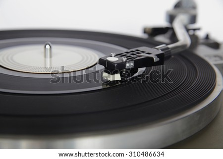 Closeup of vintage record player - stock photo