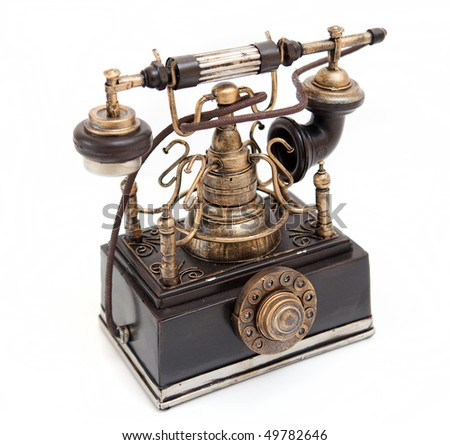 Closeup of Vintage telephone - stock photo