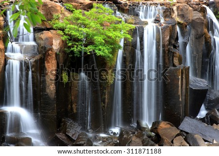 Closeup of wachirathan waterfall, Inthanon National Park, Thailand. - stock photo