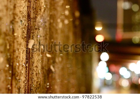 Closeup of Wall with Staples - stock photo