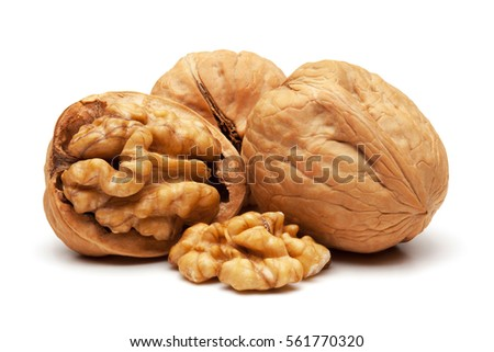 Closeup of walnuts, isolated on the white background, clipping path included.