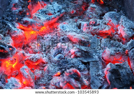 Closeup of warm glowing embers in fireplace; white and gray ash