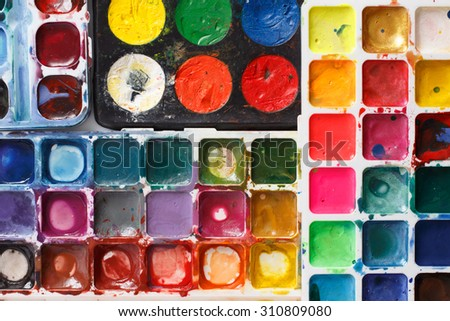 Closeup of water-color paint-box - stock photo