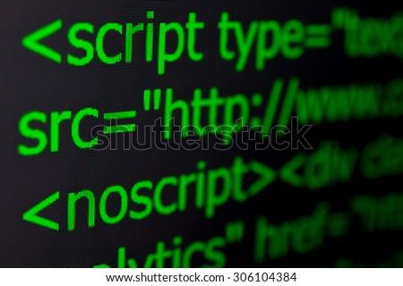 Closeup of Web Code on Computer LED Screen - stock photo