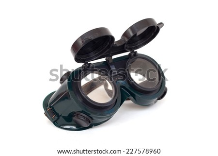 Closeup of welding glasses Isolated on white background - stock photo