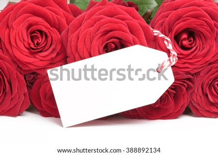 Closeup of white blank tag on red roses bouquet on white background - stock photo