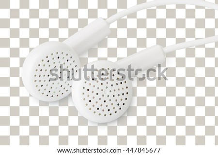 closeup of white earphones isolated on transparency layer