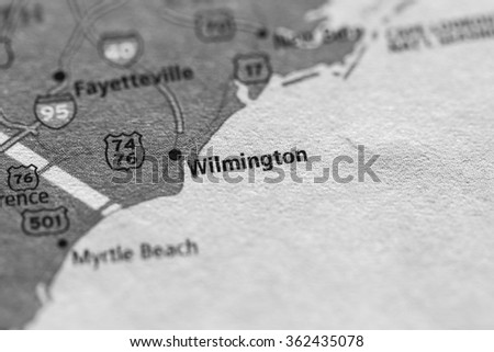 Closeup of Wilmington, NC on a geographical map. (black and white) - stock photo