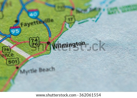 Closeup of Wilmington on a geographical map. - stock photo