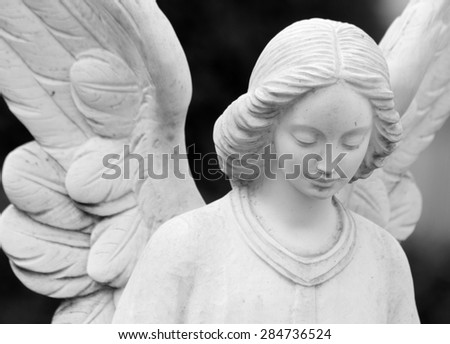 closeup of winged angel statue  - stock photo