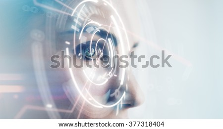 Closeup of woman eye with visual effects, isolated on white background. Horizontal - stock photo