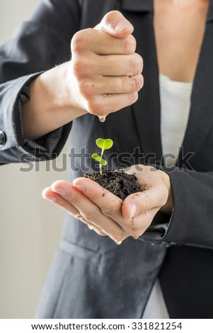 Closeup of woman in elegant suit holding a green sprout growing from a fertile soil watering it with the other hand. Conceptual of business vision and start up or nature conservation and awareness.