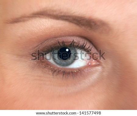 Closeup of woman's eye with zoom effect.