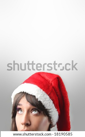closeup of Woman with Santa Claus hat