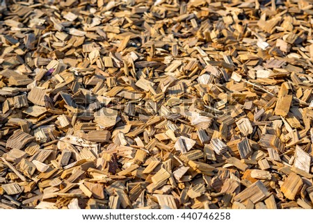 Closeup of wood chip path covering