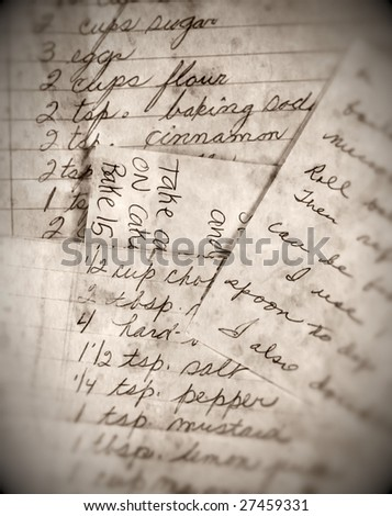 closeup of worn out recipes
