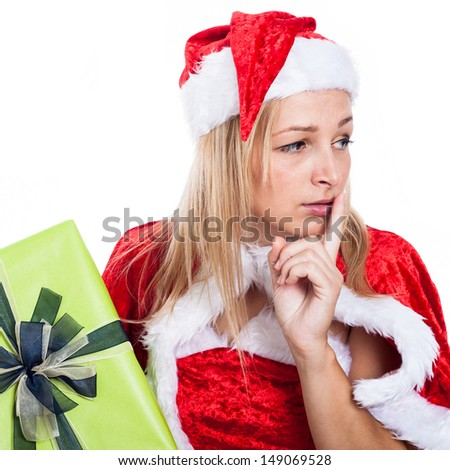 Closeup of worried Christmas woman, isolated on white background. - stock photo