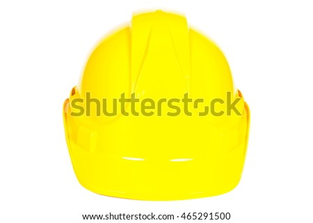 Closeup of yellow protective helmet on white background, concept of security and protection at work