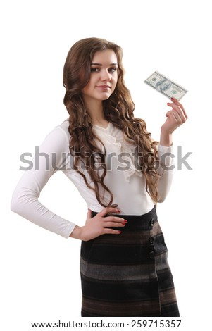 Closeup of young beautiful woman with us dollar money in hand over white background, with copy space