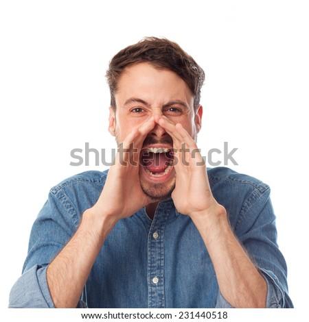 closeup of young cool man shouting - stock photo