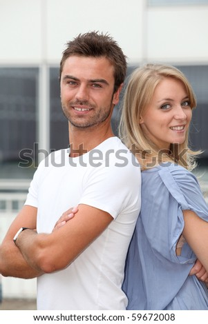 Closeup of young happy couple - stock photo