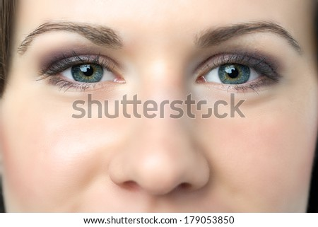 Closeup of young woman with blue eyes and nose - stock photo