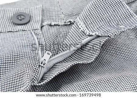 Closeup of zipper in Shorts. - stock photo