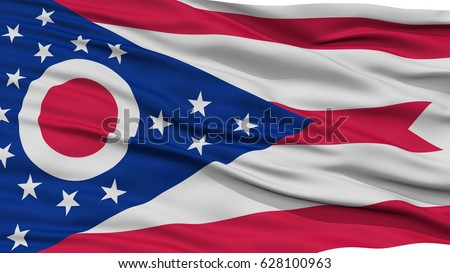 Closeup Ohio Flag On Flagpole USA State Waving In The Wind High Resolution