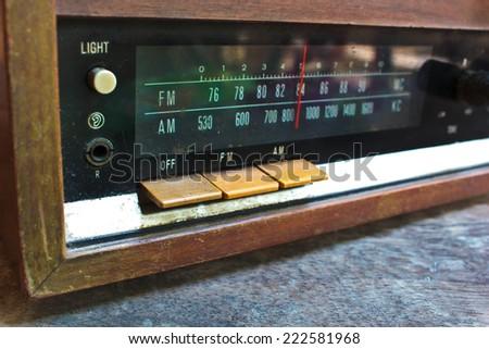closeup old radio very beautiful, vintage style. - stock photo