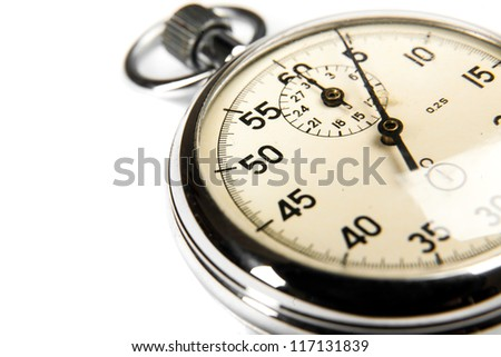 Closeup old stopwatch on white background